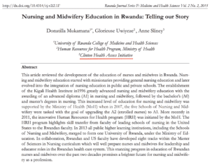 Nursing and Midwifery education in Rwanda