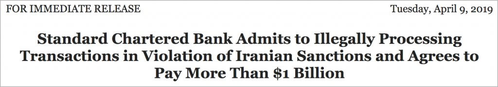 violations of Iranian sanctions $1 billion