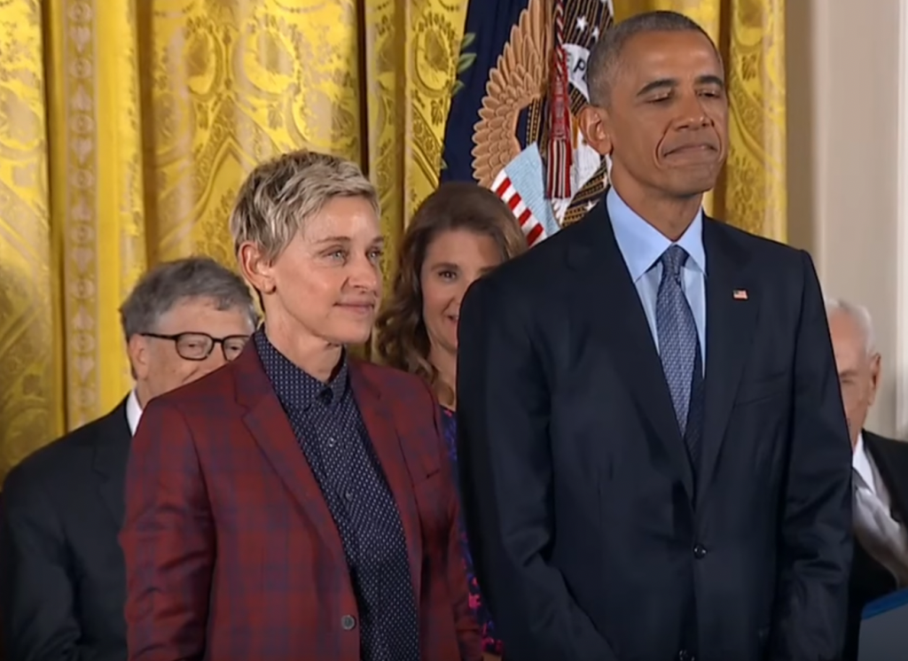 Ellen DeGeneres and Barack Obama