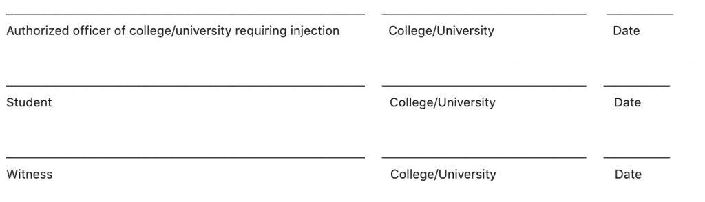 Formulier voor studenten die hogescholen of universiteiten bezoeken die Covid-19-injecties vereisen